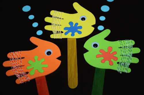 Fish Stick Puppets made with Craft Foam Handprints