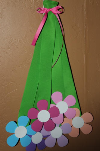 Hanging Flower Bouquet with Petal Flowers & Ribbon