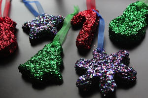 Glitter bread Ornaments with Sheer Ribbon