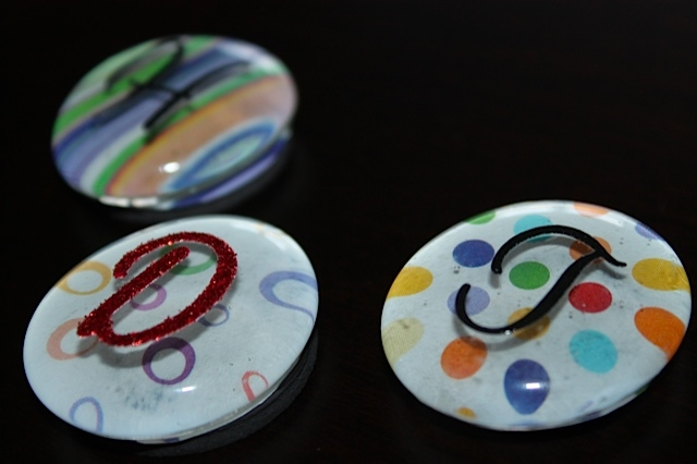 Bubble Magnets with Letter Stickers on top of gem