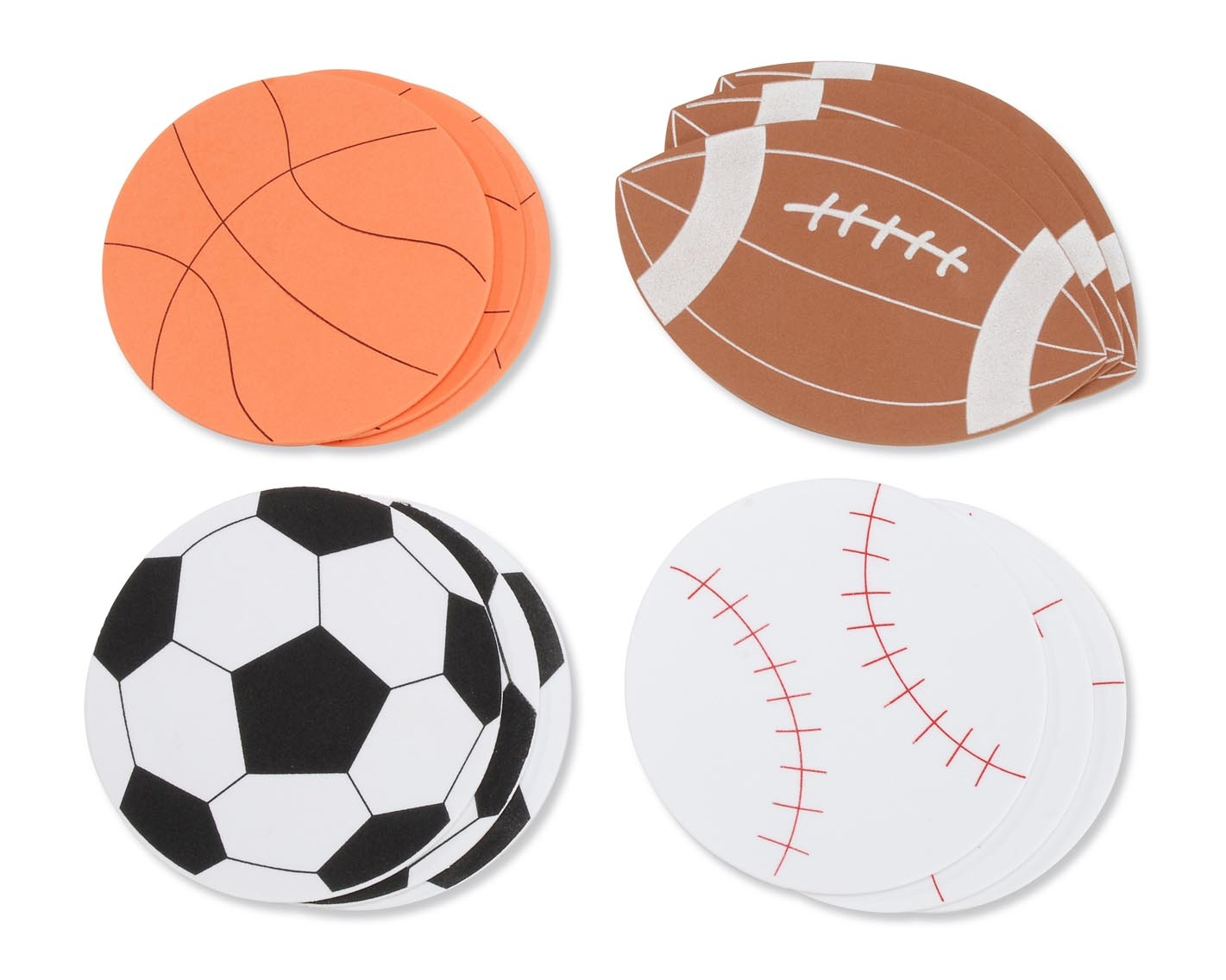 Soccer ball craft ideas - Pack Contains 12 3 Of Each Design Shown Pre Cut 2mm Sports Balls Use Glue Hole Punch Attach Ribbon For Hanging
