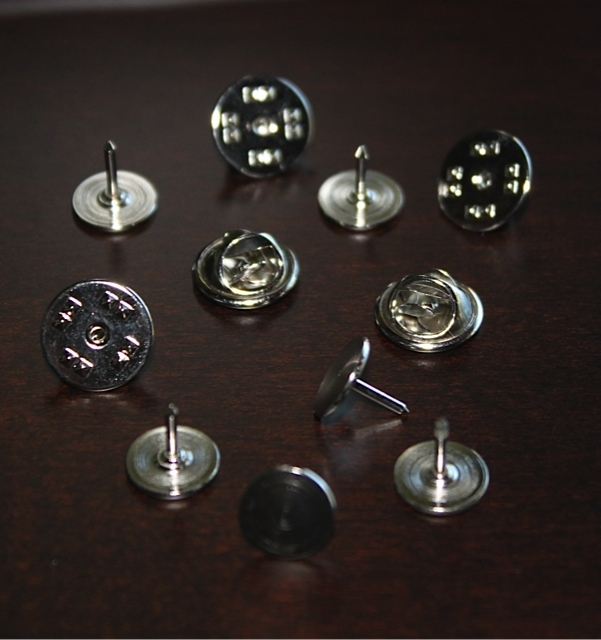 Silver Tie Tacks, Pin Backs, Adhesive Pin Backs