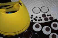 Supplies for yellow visors for minion party